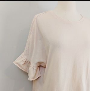 Zara • Blush Pink Ruffle Sleeve Top         a19-hn